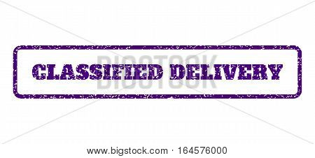 Indigo Blue rubber seal stamp with Classified Delivery text. Vector tag inside rounded rectangular frame. Grunge design and unclean texture for watermark labels. Horisontal sign on a white background.
