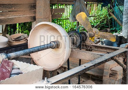 Wood Bowl in Home Made Wood Lathe Machine in Countryside of Thailand