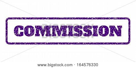 Indigo Blue rubber seal stamp with Commission text. Vector tag inside rounded rectangular frame. Grunge design and unclean texture for watermark labels. Horisontal sign on a white background.