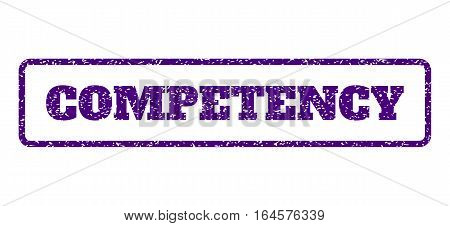 Indigo Blue rubber seal stamp with Competency text. Vector caption inside rounded rectangular frame. Grunge design and dirty texture for watermark labels. Horisontal sticker on a white background.