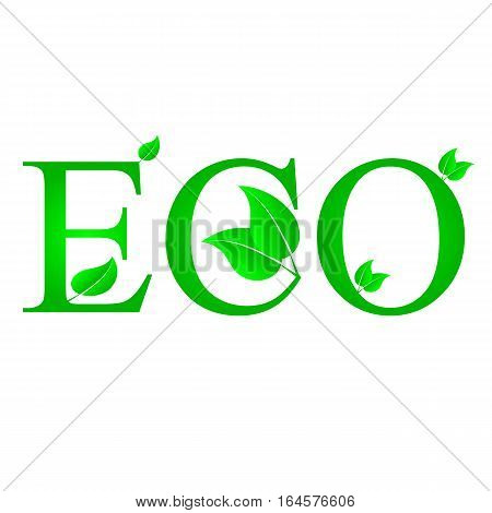 lustration of green leaves with ECO text on a white background