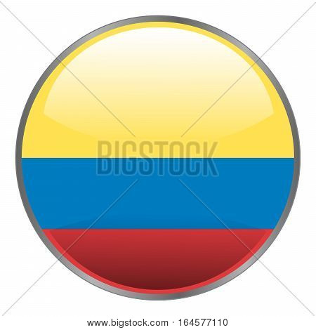 Colombia flag. Round isolated vector icon with national flag of Colombia on white background.