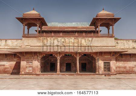 The Queen's Palace in the ancient city of Fatehpur India included a building used as a temple for worship.