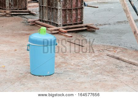 Flask water of worker in construction site