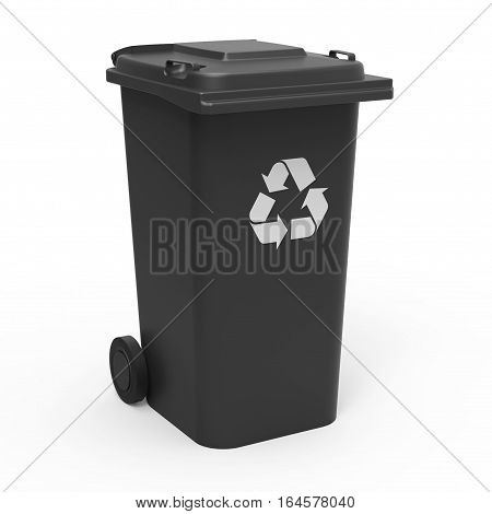 Black recycle bin isolated on white background 3D rendering