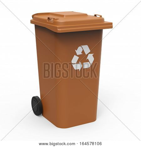 Brown recycle bin isolated on white background 3D rendering