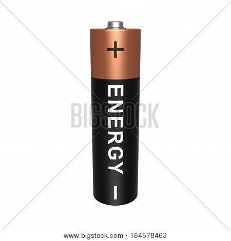 One AA battery isolated on white background 3D rendering