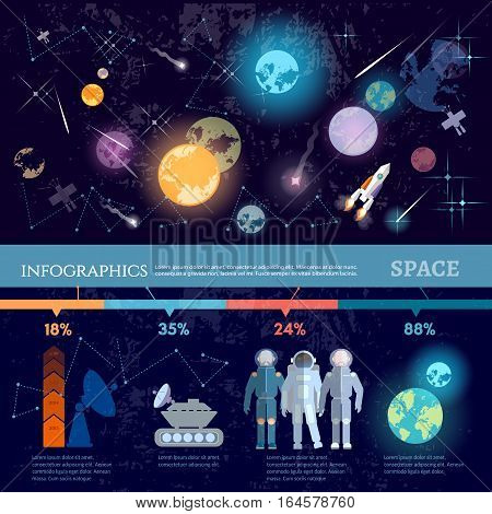 Space infographics. Study universe astronauts on new planets cosmos research symbols and charts space solar system vector illustration