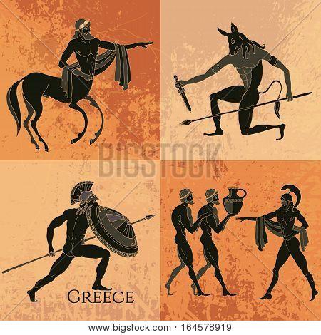 Ancient Greek mythology set. Ancient Greece scene. Black figure pottery. Classical Ancient Greek style. Minotaur gods hero mythology