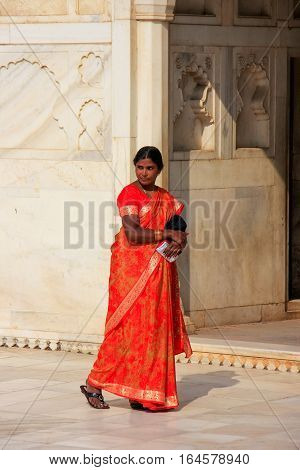 Agra, India - January 29: Unidentified Woman Walks In Khas Mahal In Agra Fort On January 29, 2011 In