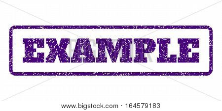 Indigo Blue rubber seal stamp with Example text. Vector tag inside rounded rectangular banner. Grunge design and scratched texture for watermark labels. Horisontal sign on a white background.
