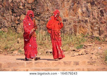 Ranthambore, India - February 2: Unidentified Women Walk Around Ranthambore Fort On February 2, 2011