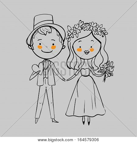 Wedding couple with flowers on a gray background. Vector illustration