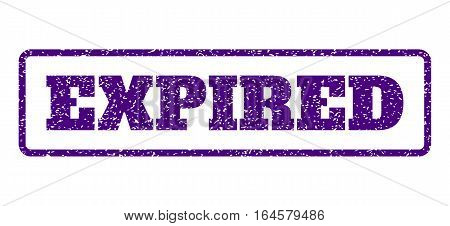 Indigo Blue rubber seal stamp with Expired text. Vector tag inside rounded rectangular banner. Grunge design and dirty texture for watermark labels. Horisontal sign on a white background.