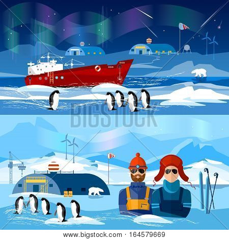 Travel to Antarctica banners. Scientific station on North Pole. Fauna of Antarctic polar bear penguins. Ice breaker and polar explorers. Arctic and Antarctic tourism.