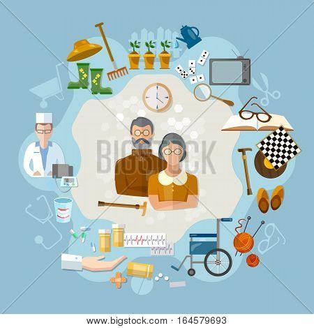 Nursing home social help elderly medicine for old men. Social care concept
