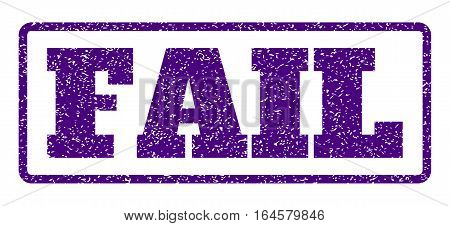 Indigo Blue rubber seal stamp with Fail text. Vector message inside rounded rectangular shape. Grunge design and unclean texture for watermark labels. Horisontal sign on a white background.