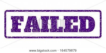 Indigo Blue rubber seal stamp with Failed text. Vector message inside rounded rectangular frame. Grunge design and scratched texture for watermark labels. Horisontal sticker on a white background.