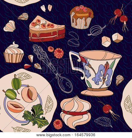 Tea seamless pattern teapot cups sweets bakery. Tea party background