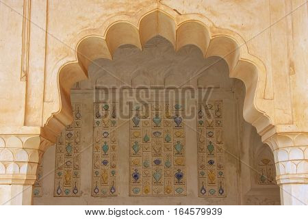 Amber, India - March 1: Detail Of The Wall In Sukh Mahal (hall Of Pleasure) In Amber Fort On March 1