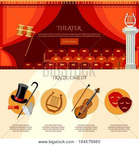 Theater infographics comedy and tragedy. Theater curtain and stage vector illustration