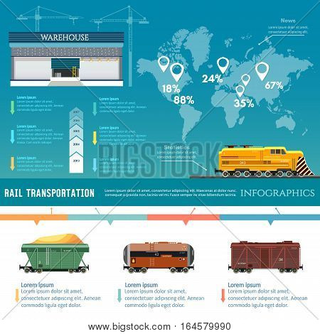 Freight trains infographics. Rail way. Cargo transportation. Industry and train transportation cargo wagons concept