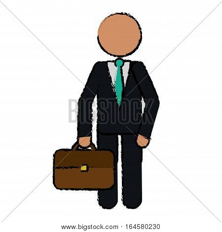 drawing character business man with suit portfolio vector illustration eps 10