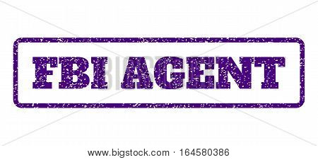 Indigo Blue rubber seal stamp with FBI Agent text. Vector message inside rounded rectangular shape. Grunge design and dirty texture for watermark labels. Horisontal sticker on a white background.