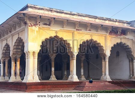 Agra, India - November 7: Diwan-i-am - Hall Of Public Audience In Agra Fort On November 7, 2014 In A