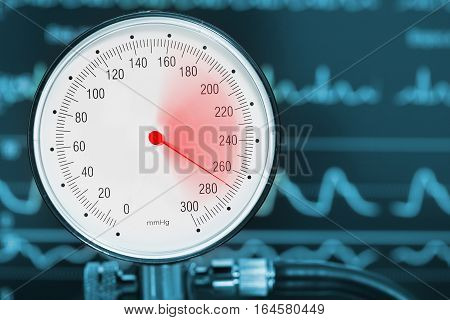 High blood pressure diagnostics medical concept. Warn sign