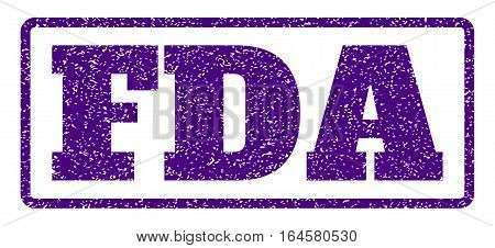 Indigo Blue rubber seal stamp with FDA text. Vector caption inside rounded rectangular banner. Grunge design and dirty texture for watermark labels. Horisontal emblem on a white background.