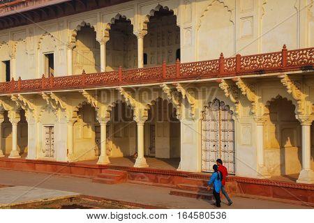 Agra, India - November 7: Unidentified People Walk In Anguri Bagh (grape Garden) In Agra Fort On Nov