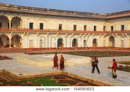 Agra, India - November 7: Unidentified People Walk Around Anguri Bagh (grape Garden) In Agra Fort On