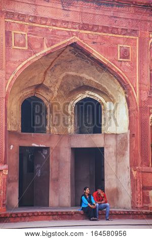 Agra, India - November 7: Unidentified People Sit In Jahangiri Mahal In Agra Fort On November 7, 201
