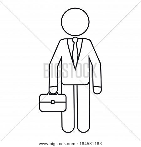 character business man with suit portfolio outline vector illustration eps 10