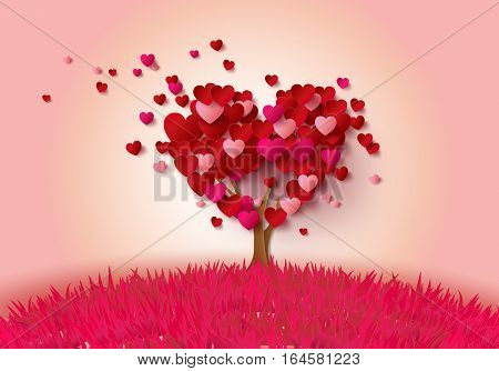 Tree of love in autumn. Red heart shaped tree at Love background illustration