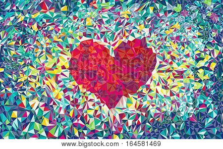 heart backdrop with shadow.  Illustration. Abstract polygonal heart. Love symbol. Low-poly colorful style. Romantic background for Valentines day.  color full