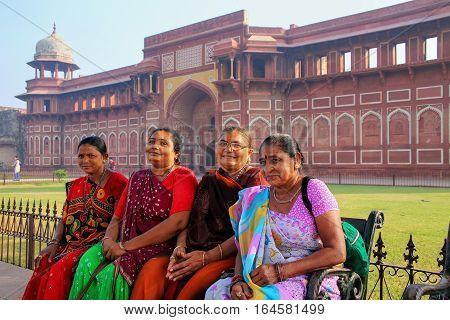Agra, India - November 7: Unidentified Women Sit Outside Jahangiri Mahal In Agra Fort On November 7,