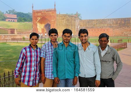 Agra, India - November 7: Unidentified Men Stand In Agra Fort On November 7, 2014 In Agra, India. Th