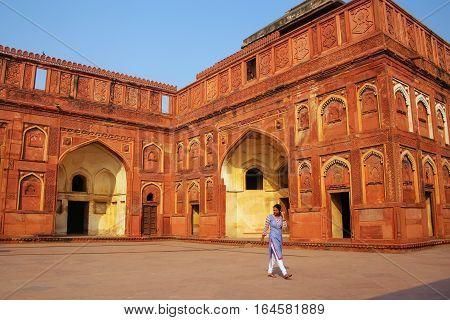 Agra, India - November 7: Unidentified Woman Walks In Jahangiri Mahal In Agra Fort On November 7, 20