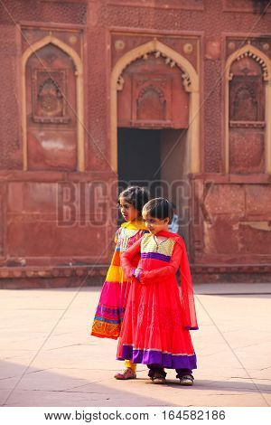 Agra, India - November 7: Unidentified Girls Walk In Jahangiri Mahal In Agra Fort On November 7, 201