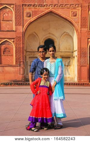Agra, India - November 7: Unidentified Children Stand In Jahangiri Mahal In Agra Fort On November 7,