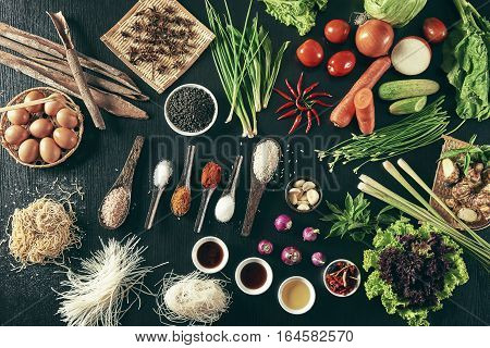 Group of ingredient gather on wooden board