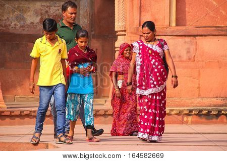 Agra, India - November 7: Unidentified People Walk In Jahangiri Mahal In Agra Fort On November 7, 20