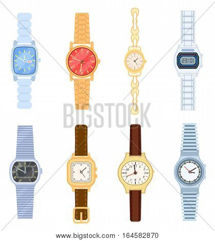 Wrist watch set isolated on white background vector illustration. Man and woman, digital and classic hand watch collection in flat design. Wrist watch with bracelet colorful element. Wrist watch icon.