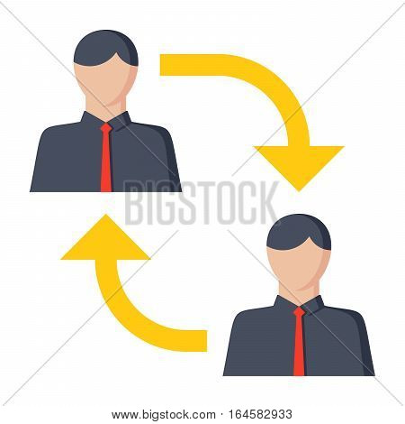 Business-to-business B2B, business makes a commercial transaction, vector illustration, icon