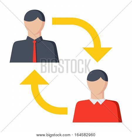 B2C or business-to-consumer, commerce transaction, sell products or services to consumers, vector illustration, icon