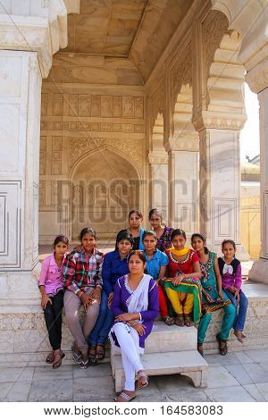 Agra, India - November 7: Unidentified People Sit At Khas Mahal In Agra Fort On November 7, 2014 In