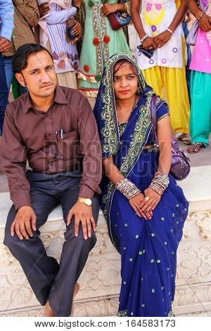 Agra, India - November 7: Unidentified Man And Unidentified Woman Sit At Khas Mahal In Agra Fort On