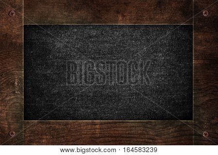 Wooden frame with black clothes texture, menu board